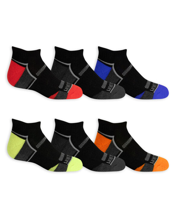 Boys' Active Cushioned Low Cut Socks, 6 Pack BLACK/DAZZLING BLUE, BLACK/GREY,BLACK/HIGH RISK RED, BLACK/LIME,BLACK/GREY,BLACK/AUTUMN GLORY