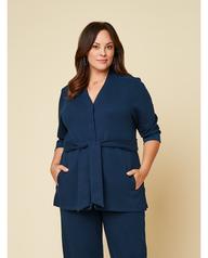 Women's Seek No Further Plus Size ¾ Sleeve Stretch Tie Jacket Navy Nights