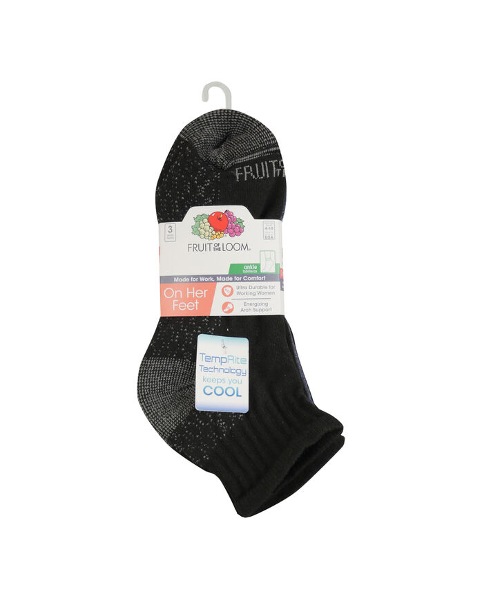 Women's On Her Feet Cotton Zone Cushion Ankle Socks, 3 Pack