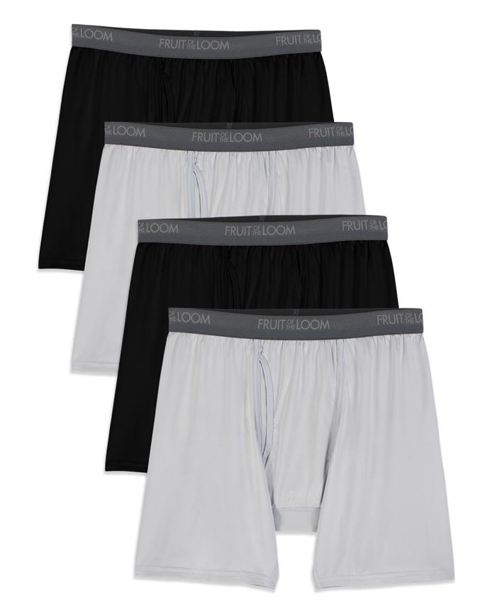 Big Men's Micro-Stretch Black/Gray Boxer Briefs, 4 Pack