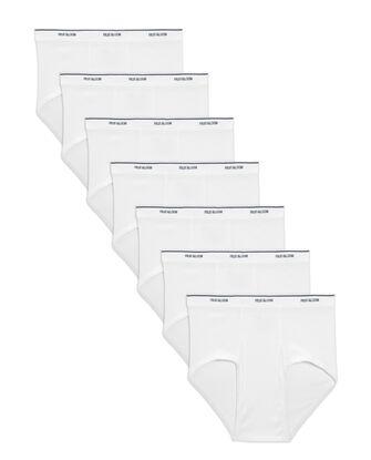 Men's Cotton White Briefs, 7 Pack