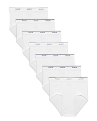 Men's Cotton White Briefs, 7 Pack White
