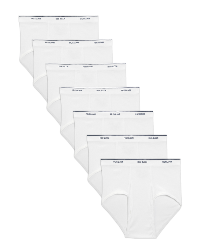 Men's Cotton White Briefs, 7 Pack