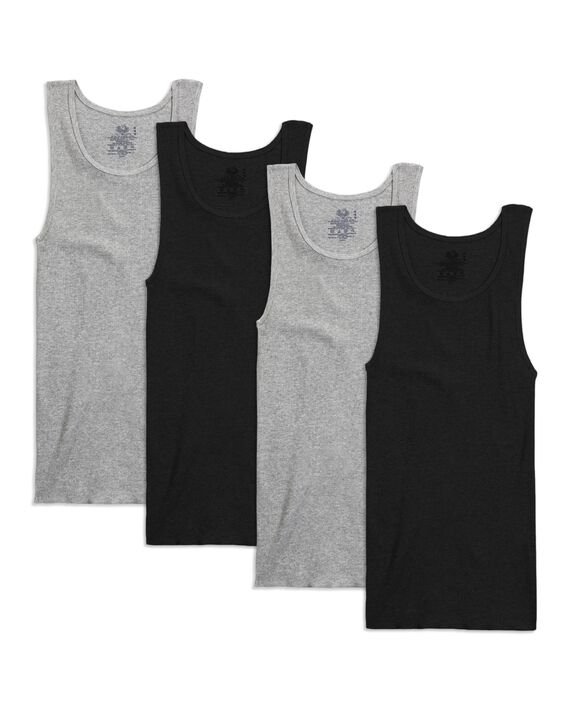 Fruit of the Loom Premium Men's A-Shirts, 4 Pack - Black/Gray
