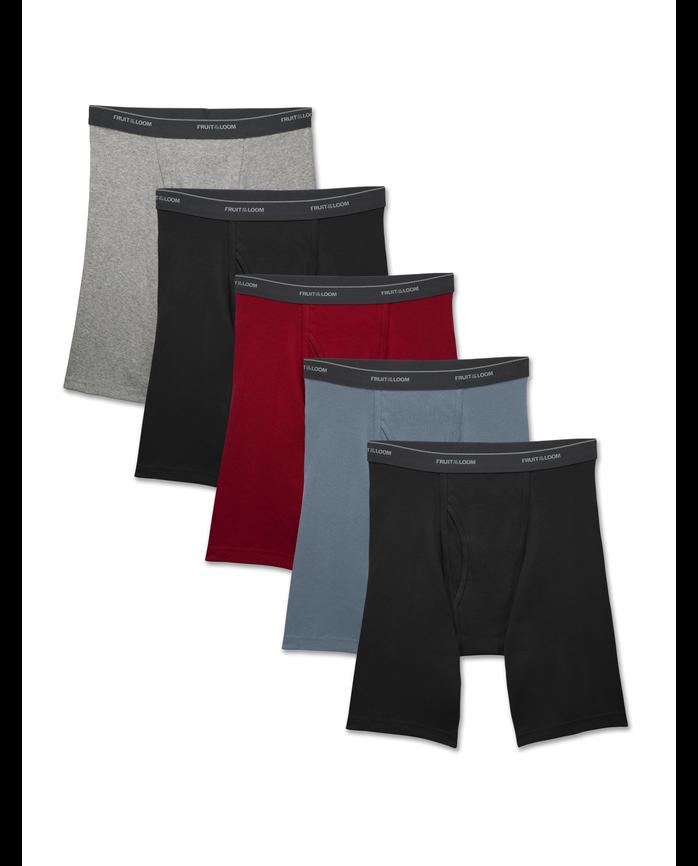 Men's Dual Defense Assorted Long Leg Boxer Briefs, 5 Pack