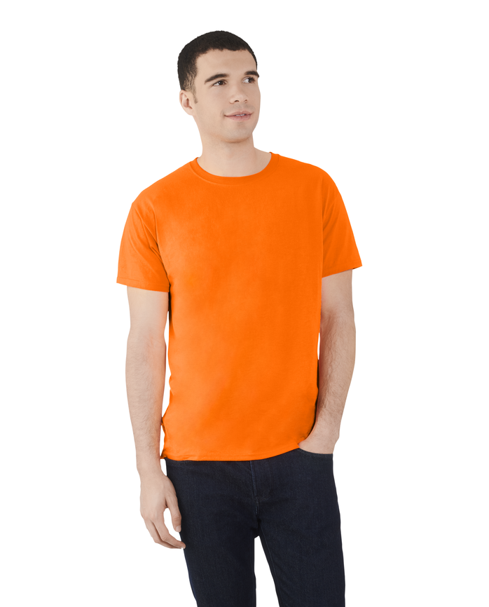 Men's Dual Defense UPF Short Sleeve Crew T-Shirt, 1 Pack Safety Orange