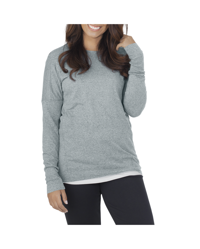 Women's Essentials Long Sleeve Scoop Neck T-Shirt, 1 Pack Rock Heather