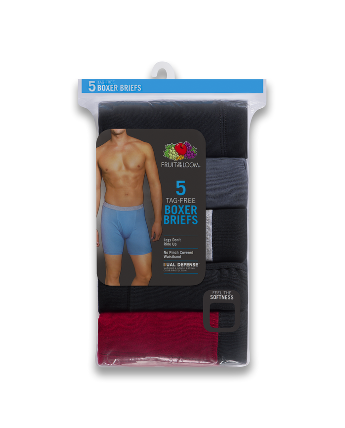 Men's Dual Defense Covered Waistband Boxer Briefs, 5 Pack Assorted Color