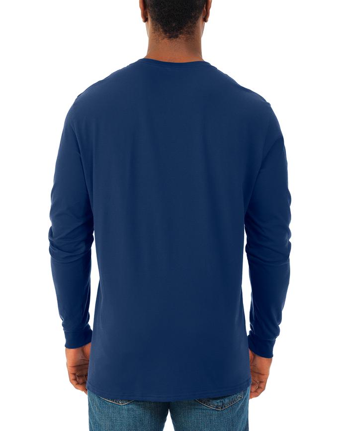 Men's Soft Long Sleeve Crew Neck T-Shirt, 2 Pack J Navy