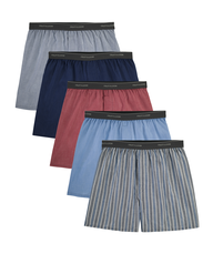 Men's Exposed Waistband Woven Boxers, 5 Pack Assorted
