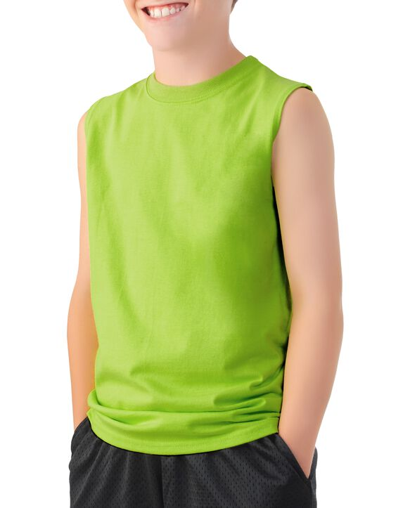 Boys' Sleeveless T-Shirt, 2 Pack Lime Punch