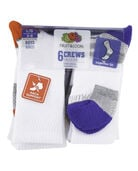 Boys' Everyday Active Crew Socks, 6 Pack WHITE/HIGH RISK RED, WHITE/GREY, WHITE/AUTUMN GLORY, WHITE/DAZZLING BLUE, WHITE/GREY, WHITE/LIME