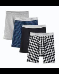 Big Men's Fashion Print/Solid Boxer Briefs, 4 Pack 103
