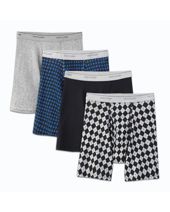 Men's 4 Pack Fashion Print Solid Boxer Briefs Extended Sizes