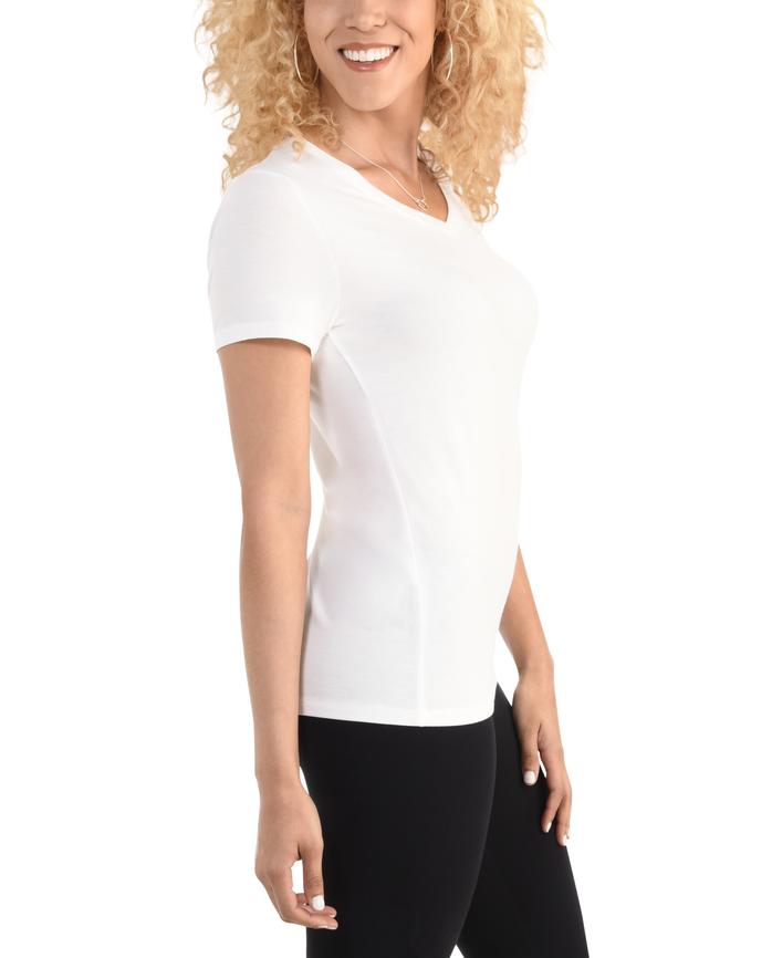 Women's  Seek No Further Short Sleeve V-Neck T-shirt White