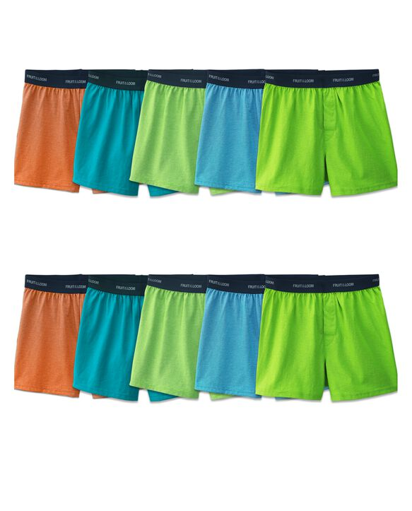 Boys' Stripe/Solid Knit Cotton Boxers, 10 Pack ASSORTED