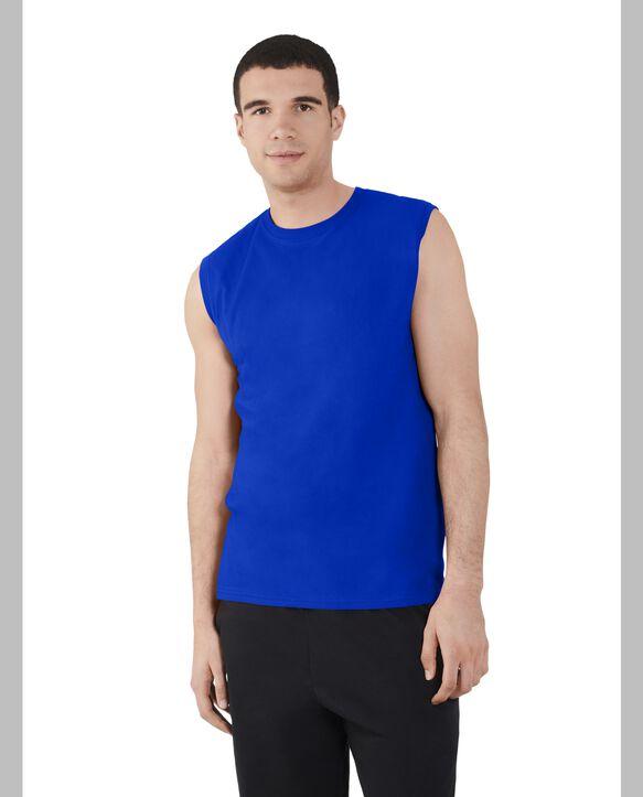 Big Men's Dual Defense UPF Sleeveless Muscle Shirt Cobalt