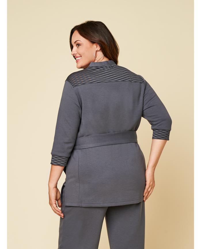 Women's Seek No Further Plus Size ¾ Sleeve Stretch Tie Jacket Charcoal