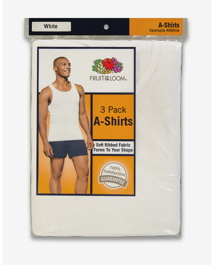 Men's A-Shirt, 3 Pack, Extended Sizes White