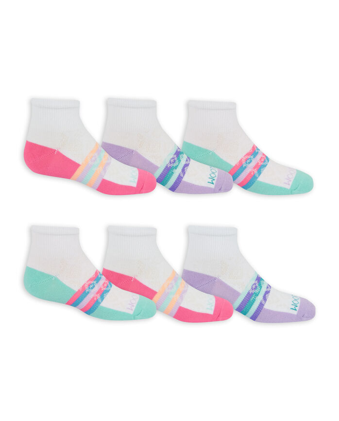Girls' Active Lightweight Ankle Socks, 6 Pack WHITE/PINK, WHITE/PURPLE, WHITE/GREEN, PURPLE/BLACK, BLUE/BLACK, PINK/BLACK