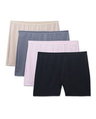 Fit for Me by Fruit of the Loom Women's 4 Pack Microfiber Slip Short Assorted