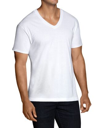 Men's Short Sleeve White V-Neck T-Shirts, 6 Pack, Extended Size