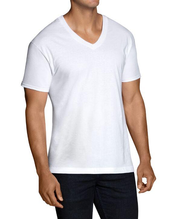 Men's Short Sleeve White V-Neck T-Shirts, 6 Pack, Extended Size White
