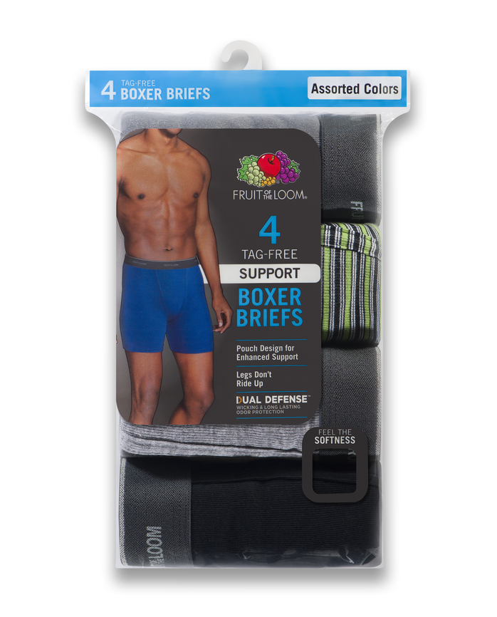 Men's Support Pouch Assorted Boxer Briefs, 4 Pack, Extended Sizes