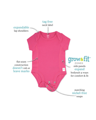 Baby Girls' Short Sleeve Grow & Fit Bodysuits, 7 Pack Pink Multi