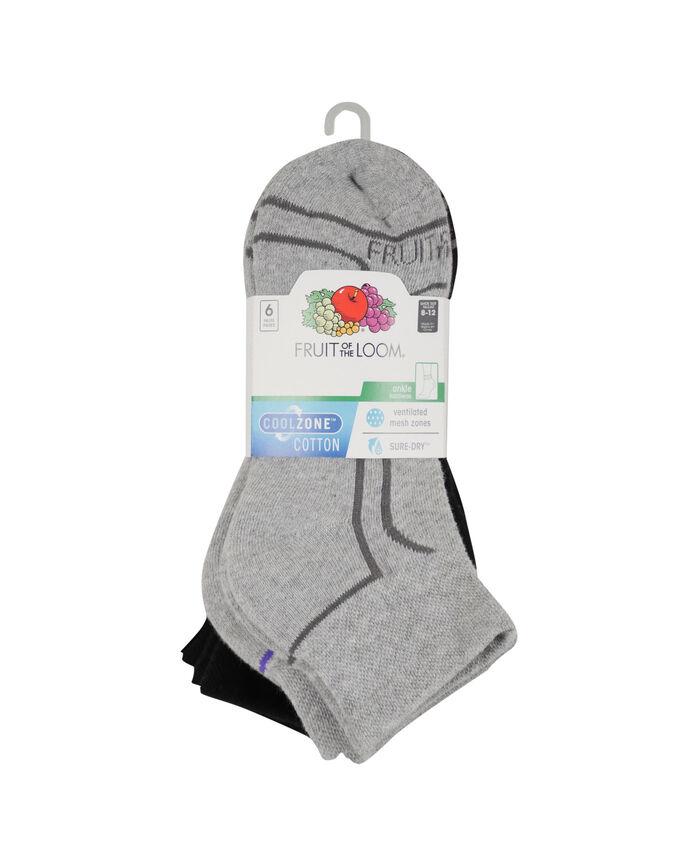 Women's CoolZone Cushioned Cotton Ankle Socks, 6 Pack GREY/DARK GREY, GREY/PURPLE, GREY/PINK, BLACK/GREY, BLACK/BLUE, BLACK/LAVENDAR