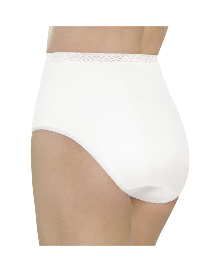 Women's White Nylon Brief, 6 Pack White