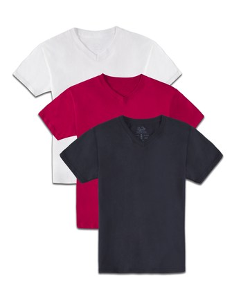Boys' Super Soft Solid Multi-Color Short Sleeve V-Neck T-Shirts, 3 Pack