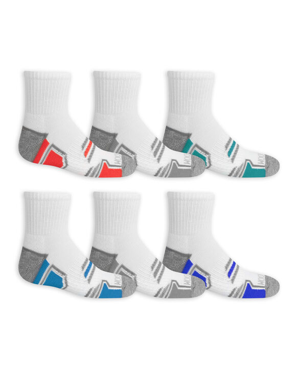 Boys' Active Cushioned Ankle Socks, 6 Pack BRIGHT WHITE/HIGH RISK RED, BRIGHT WHITE/BC04, BRIGHT WHITE/LAPIS, BRIGHT WHITE/VIVID BLUE, BRIGHT WHITE/BC04, BRIGHT WHITE/DAZZLIN BLUE