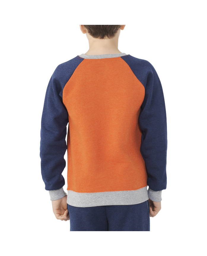 Boys Fleece Raglan Crewneck Sweatshirt Orange Heather