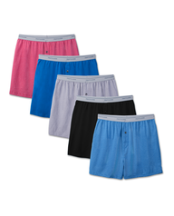 Men's Exposed Waistband Knit Boxers, 5 Pack Assorted