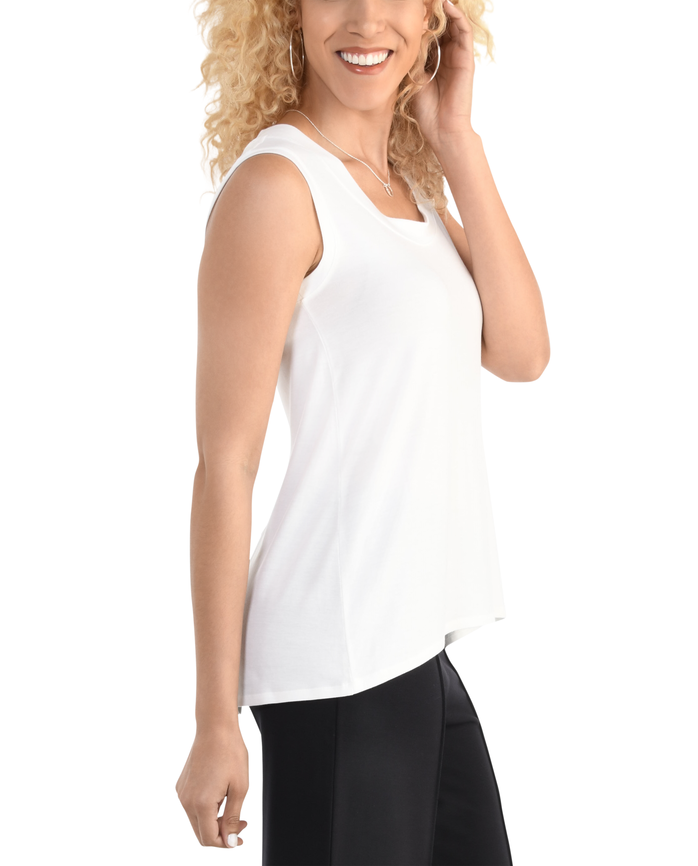 Women's Seek No Further Scoop Neck Shell Tank Top White