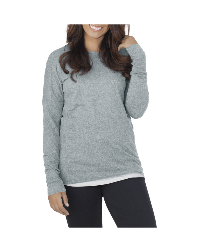 Women's Essentials Long Sleeve Scoop Neck T-Shirt, 1 Pack Rock Heather