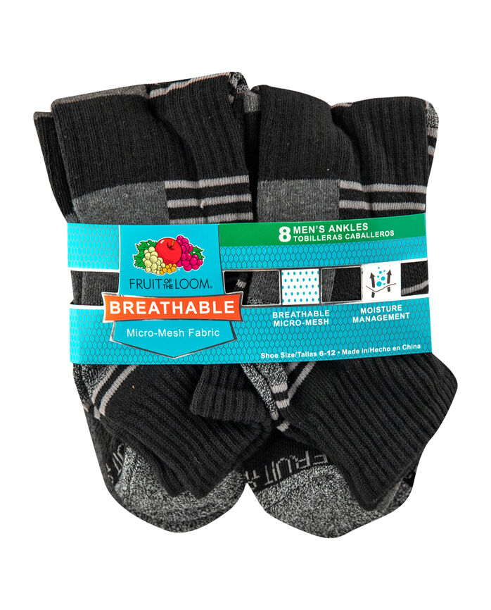 Men's Breathable Ankle Socks,  8 Pack, Size 6-12