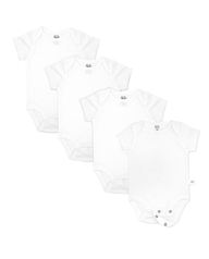 Baby Short Sleeve Breathable Bodysuits, 4 Pack White