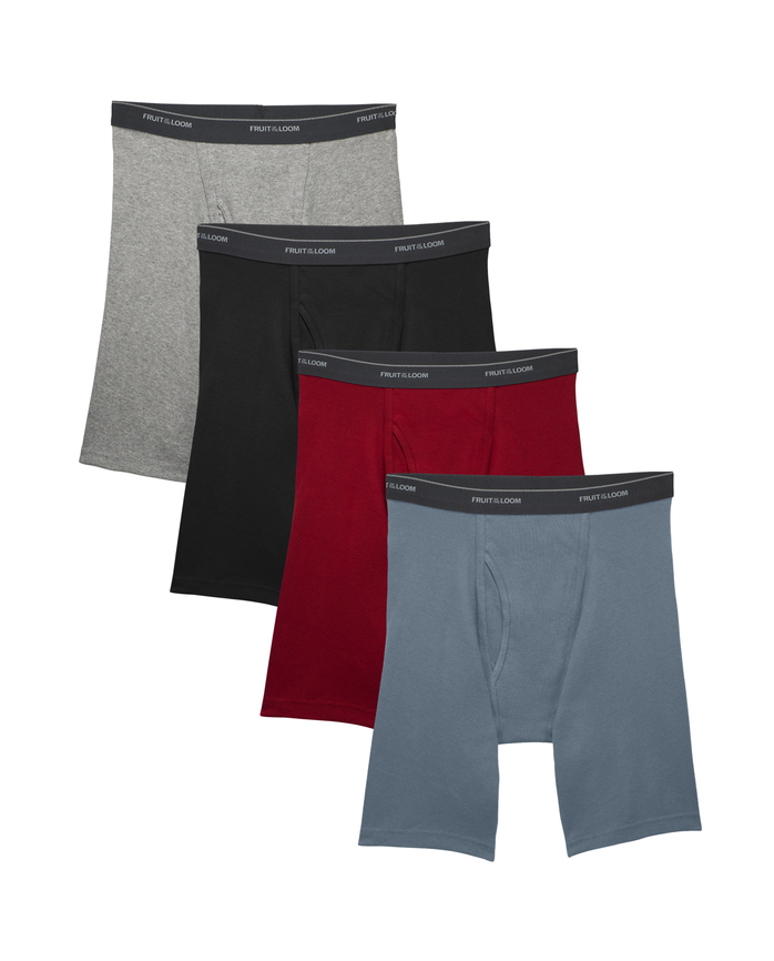 Big Men's Dual Defense Long Leg Boxer Brief, 4 Pack