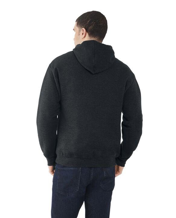 Men's EverSoft Fleece Pullover Hoodie Sweatshirt, Extended Sizes, 1 Pack Black Heather
