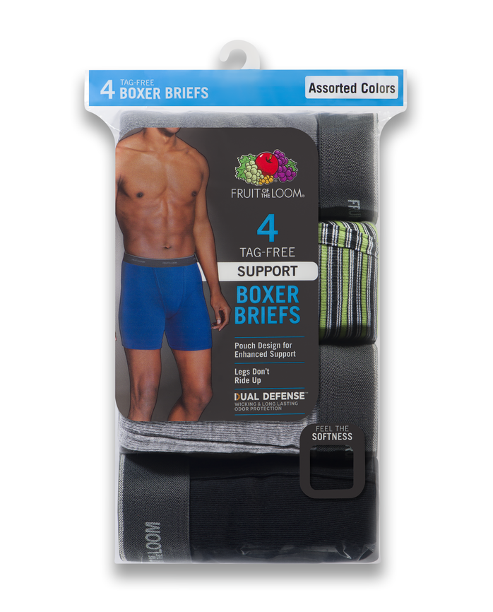 Men's Dual Defense Support Pouch Assorted Boxer Briefs, 4 Pack, Extended Sizes