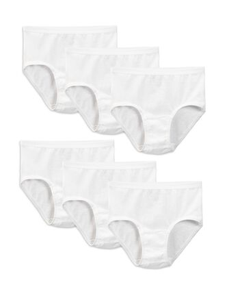 Girls' White Cotton Brief Panty, 6 Pack