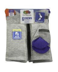 Boys' Everyday Active Crew Socks, 6 Pack GREY/HIGH RISK RED, GREY/GREY, GREY/AUTUMN GLORY, GREY/DAZZLING BLUE, GREY/LIME