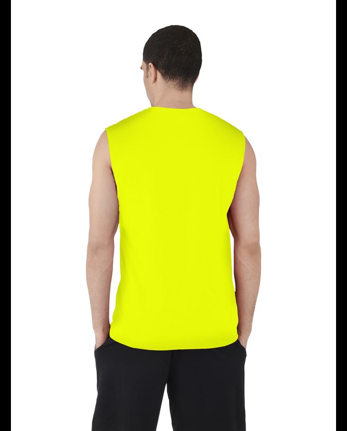 Big Men's Dual Defense UPF Sleeveless Muscle Shirt Safety Green