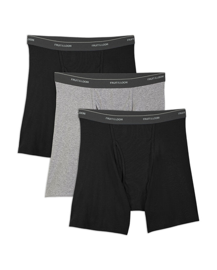 Big Men's Dual Defense Black and Gray Boxer Briefs, 2XL, 3 Pack