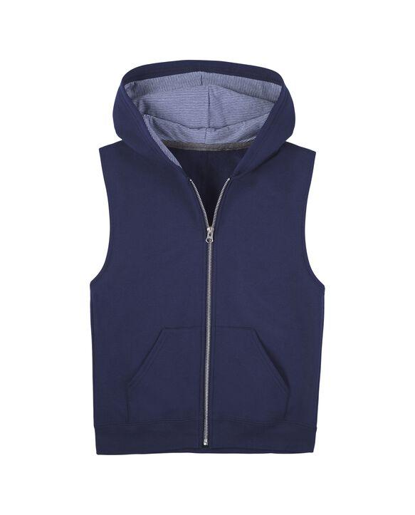 Boys' Fleece Full Zip Sleeveless Vest, 1 Pack Navy