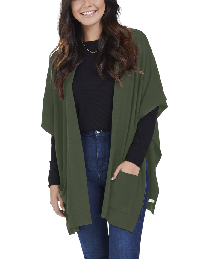 Women's Seek No Further Blanket Cape Poncho Cardigan Military Green