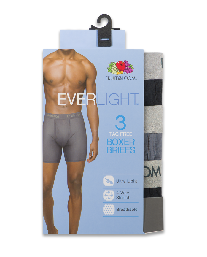 Men's EverLight Black/Gray Boxer Briefs, 3 Pack Assorted