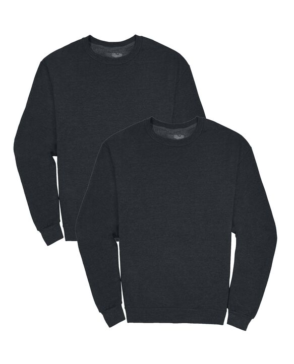 Men's EverSoft Fleece Crew Sweatshirt, 2 Pack BLACK HEATHER